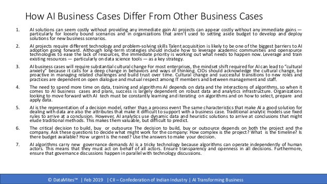 © DataMites™   Feb 2019   CII – Confederation of Indian Industry   AI Transforming Business How AI Business Cases Differ F...