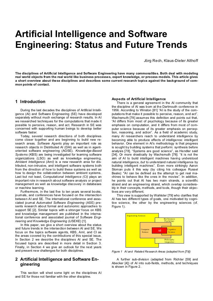Artificial Intelligence and SoftwareEngineering: Status and Future Trends                                                 ...