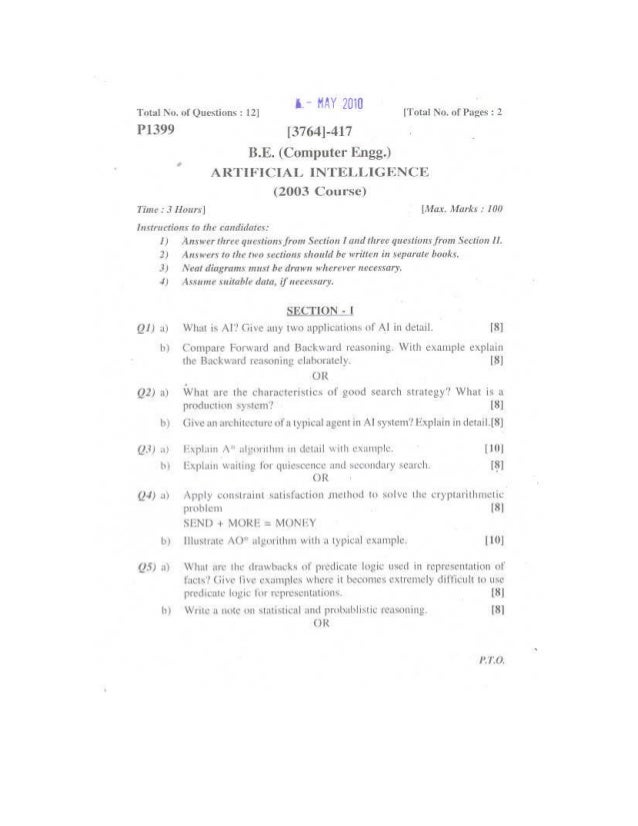 artificial intelligence may 2010 computer engineering pune uninversity question paper. Resume Example. Resume CV Cover Letter