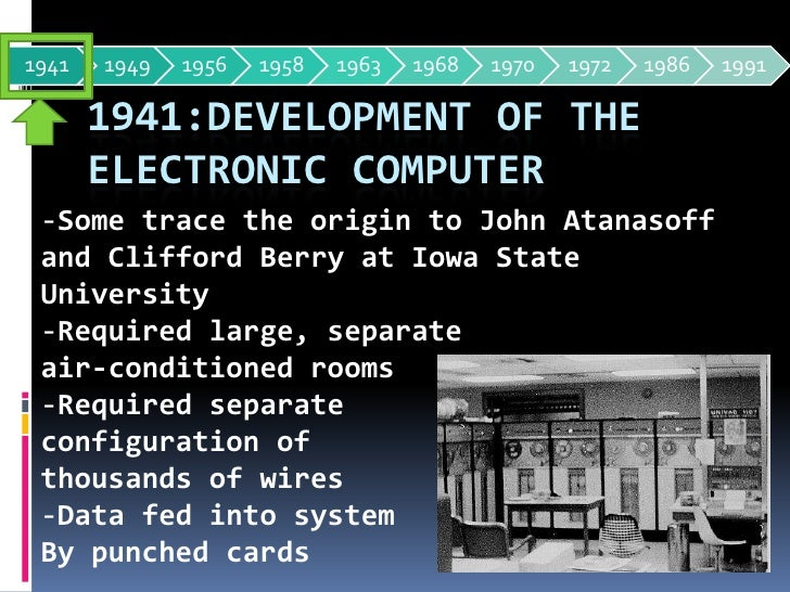 1941:Development of the electronic computer<br /><ul><li>Some trace the origin to John Atanasoff and Clifford Berry at Iow...