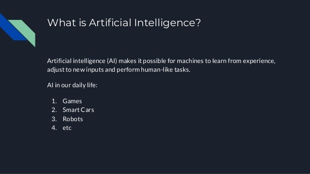 What is Artificial Intelligence? Artificial intelligence (AI) makes it possible for machines to learn from experience, adj...