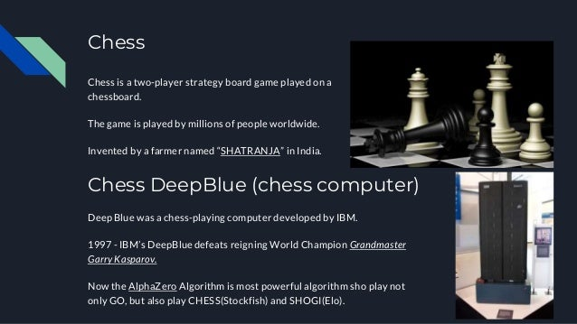 Chess Chess is a two-player strategy board game played on a chessboard. The game is played by millions of people worldwide...