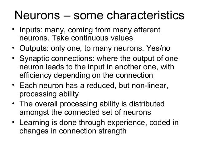 the main characteristics of neural networks Feed-forward networks have the following characteristics: 1  learning in feed-forward networks belongs to the realm of supervised learning,.