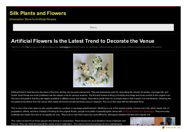 Silk Plants and FlowersInformation Store for Artificial Flowers                                                           ...