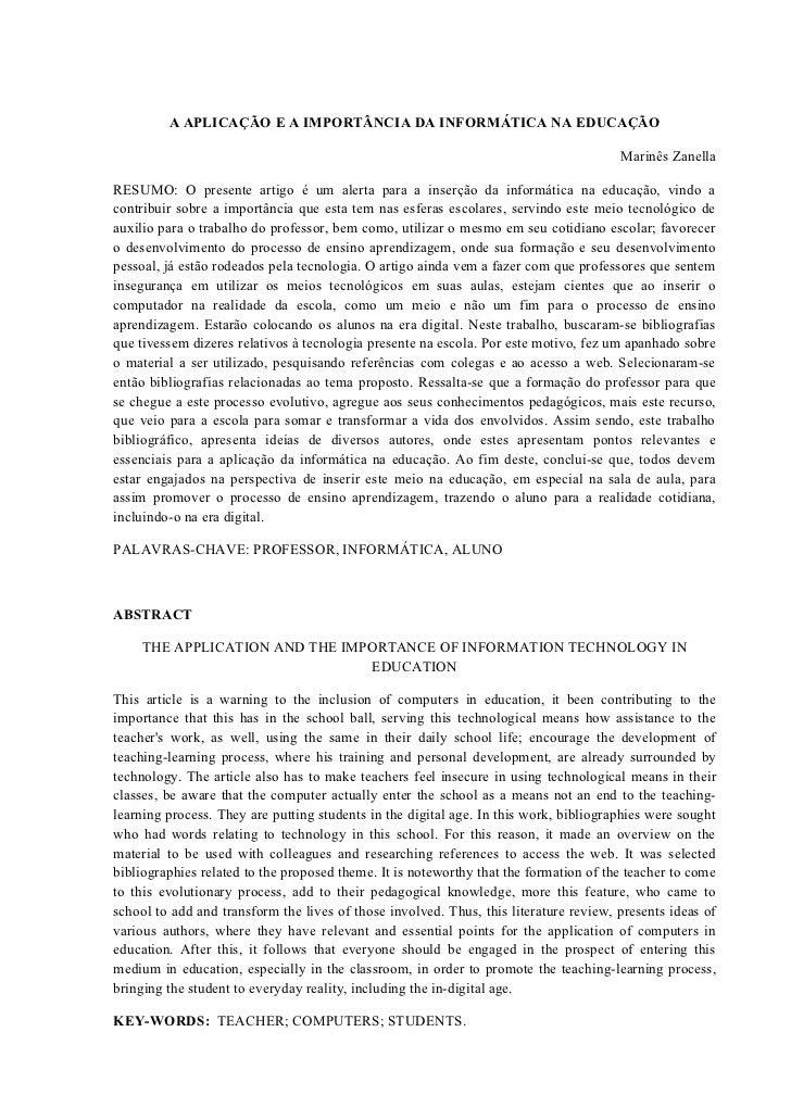 A APLICAÇÃO E A IMPORTÂNCIA DA INFORMÁTICA NA EDUCAÇÃO                                                                    ...
