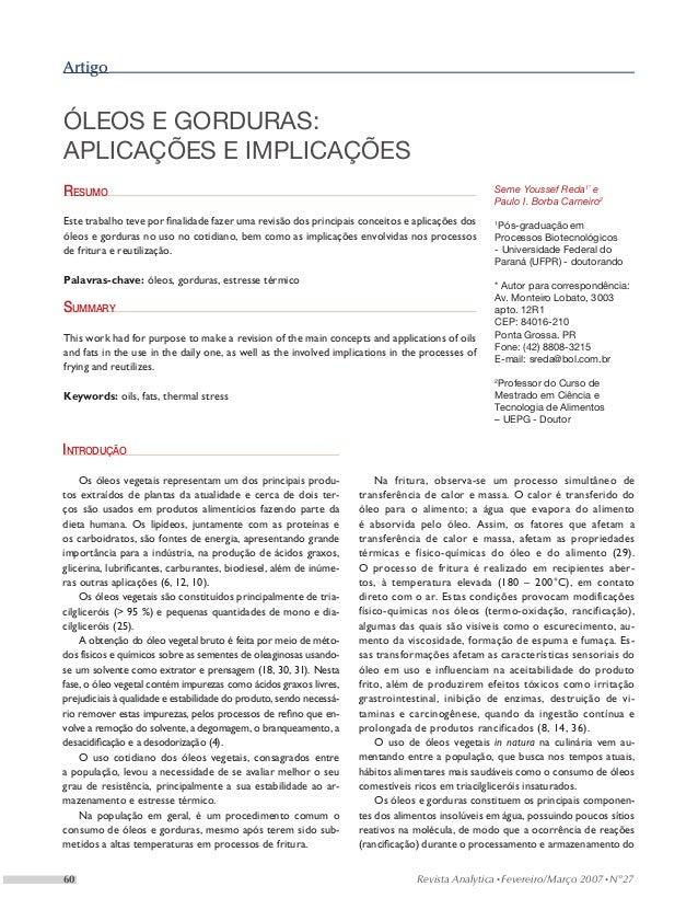 Artigoóleos e gorduras:aplicações e implicaçõesResumo                                                                     ...