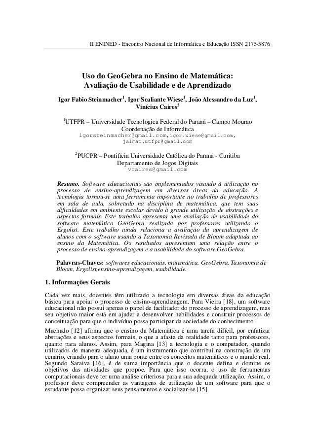 II ENINED - Encontro Nacional de Informática e Educação ISSN 2175-5876                  Uso do GeoGebra no Ensino de Matem...
