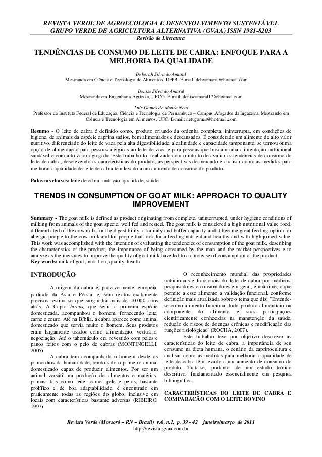 REVISTA VERDE DE AGROECOLOGIA E DESENVOLVIMENTO SUSTENTÁVEL        GRUPO VERDE DE AGRICULTURA ALTERNATIVA (GVAA) ISSN 1981...