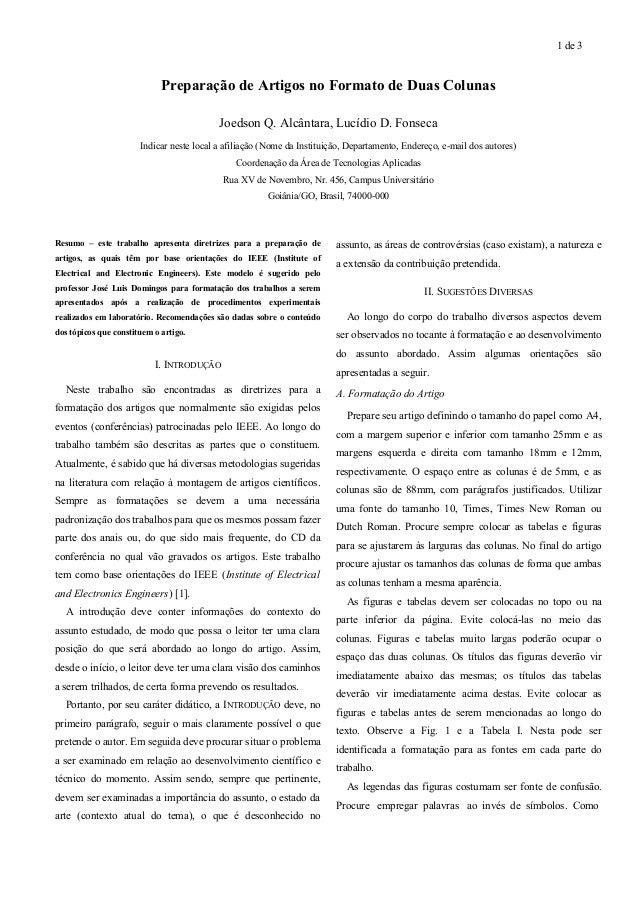 1 de 3  Preparação de Artigos no Formato de Duas Colunas  Joedson Q. Alcântara, Lucídio D. Fonseca  Indicar neste local a ...