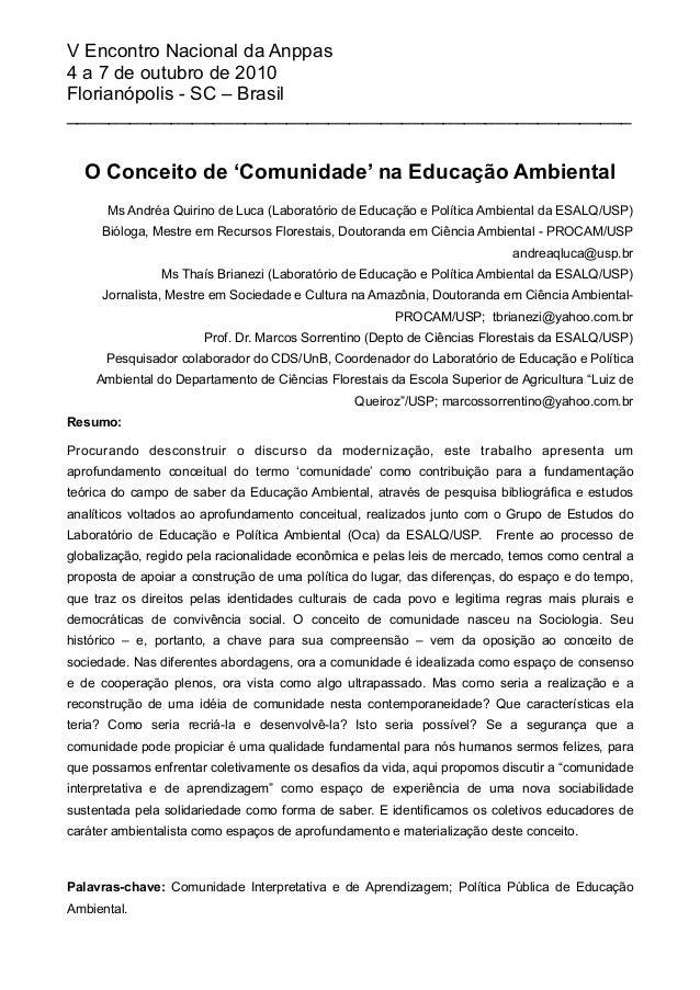 O Conceito de 'Comunidade' na Educação Ambiental Ms Andréa Quirino de Luca (Laboratório de Educação e Política Ambiental d...