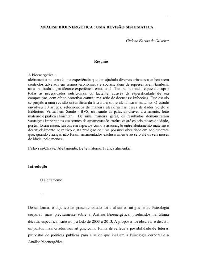 1  ANÁLISE BIOENERGÉTICA : UMA REVISÃO SISTEMÁTICA Gislene Farias de Oliveira  Resumo A bioenergética... aleitamento mater...