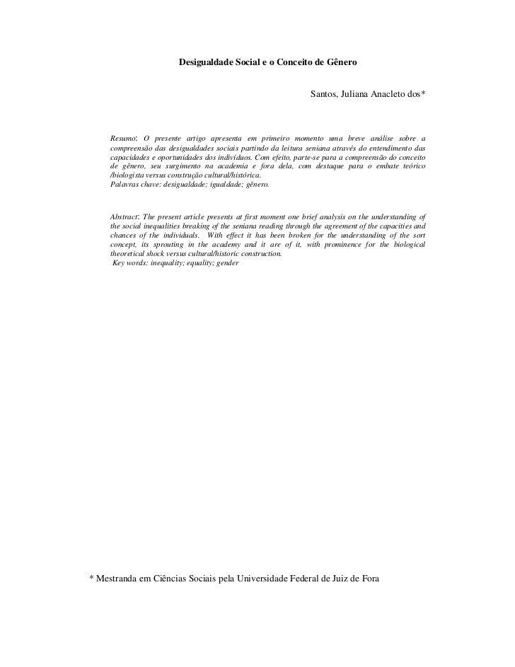 Desigualdade Social e o Conceito de Gênero                                                                   Santos, Julia...