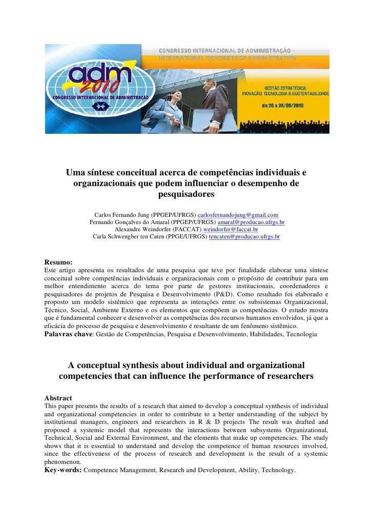 Uma síntese conceitual acerca de competências individuais e        organizacionais que podem influenciar o desempenho de  ...