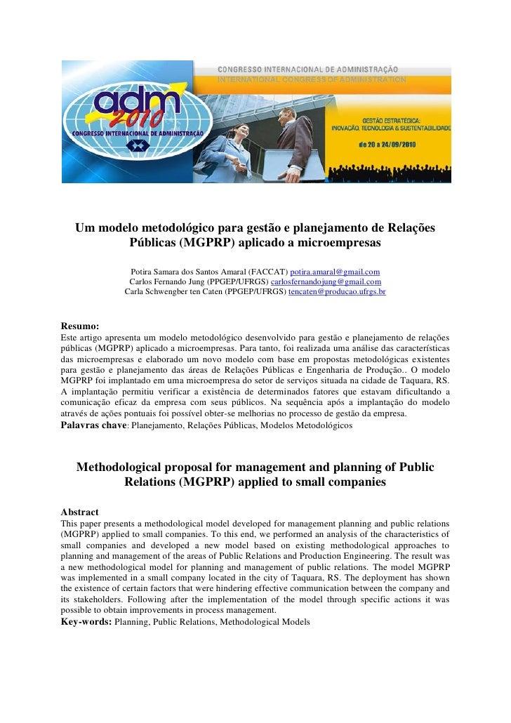 Um modelo metodológico para gestão e planejamento de Relações          Públicas (MGPRP) aplicado a microempresas          ...