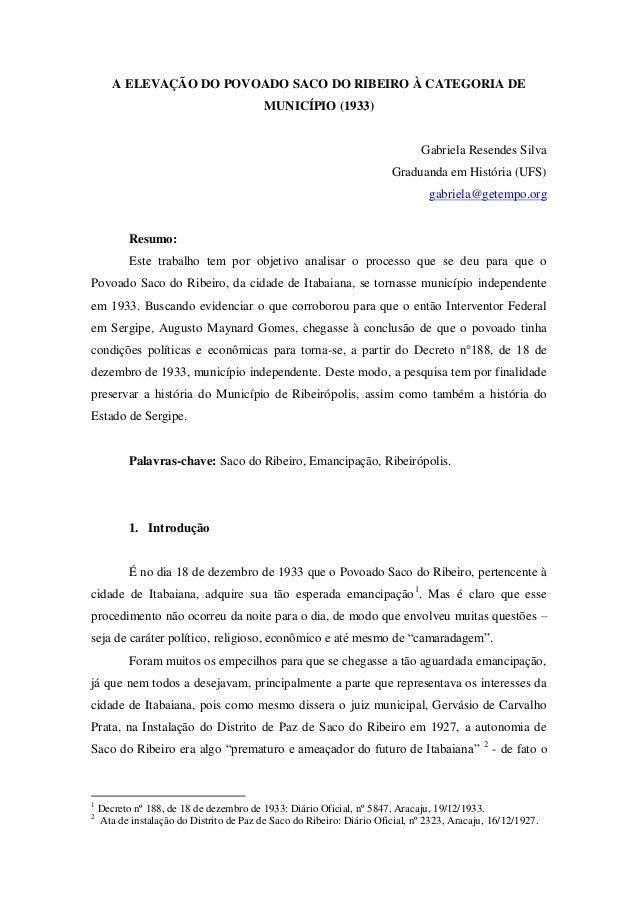 A ELEVAÇÃO DO POVOADO SACO DO RIBEIRO À CATEGORIA DE                                          MUNICÍPIO (1933)            ...