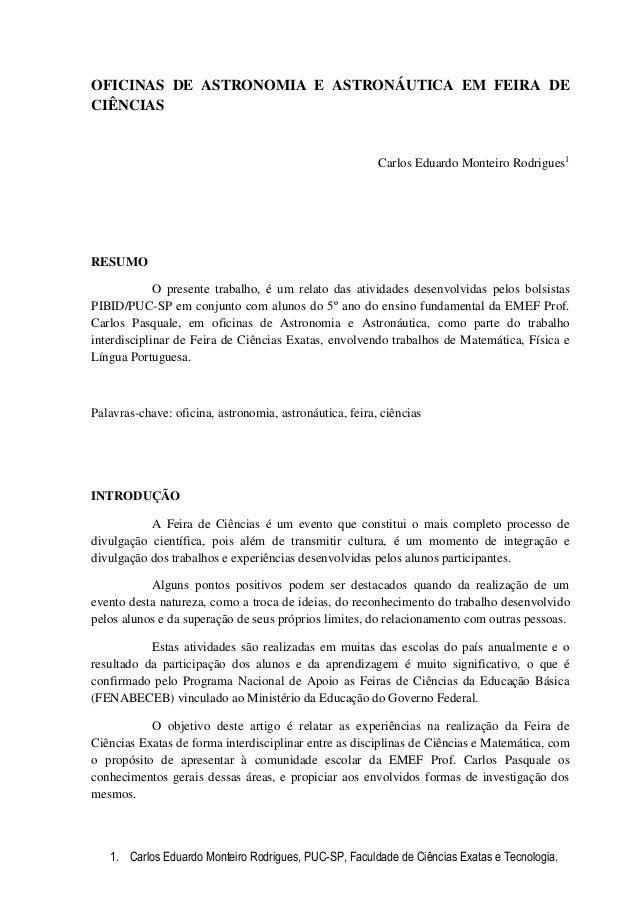 OFICINAS DE ASTRONOMIA E ASTRONÁUTICA EM FEIRA DECIÊNCIAS                                                         Carlos E...