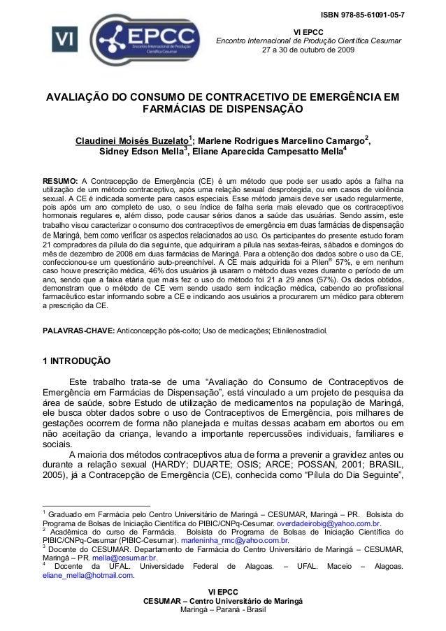 VVII EEPPCCCC CESUMAR – Centro Universitário de Maringá Maringá – Paraná - Brasil ISBN 978-85-61091-05-7 VI EPCC Encontro ...