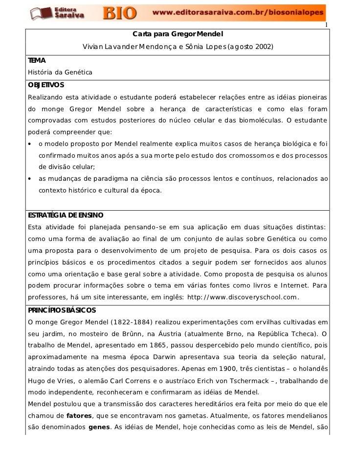 1                                 Carta para Gregor Mendel                  Vivian Lavander Mendonça e Sônia Lopes (agosto...