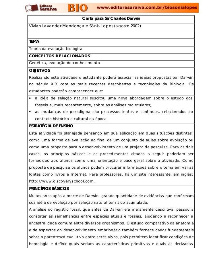 Carta para Sir Charles DarwinVivian Lavander Mendonça e Sônia Lopes (agosto 2002)TEMATeoria da evolução biológicaCONCEITOS...