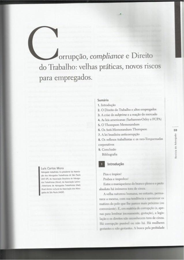 f'.   m;  a riorrupção,  compliance e Direito  do Trabalho:  velhas práticas,  novos riscos para empregados.   Sumário  1....