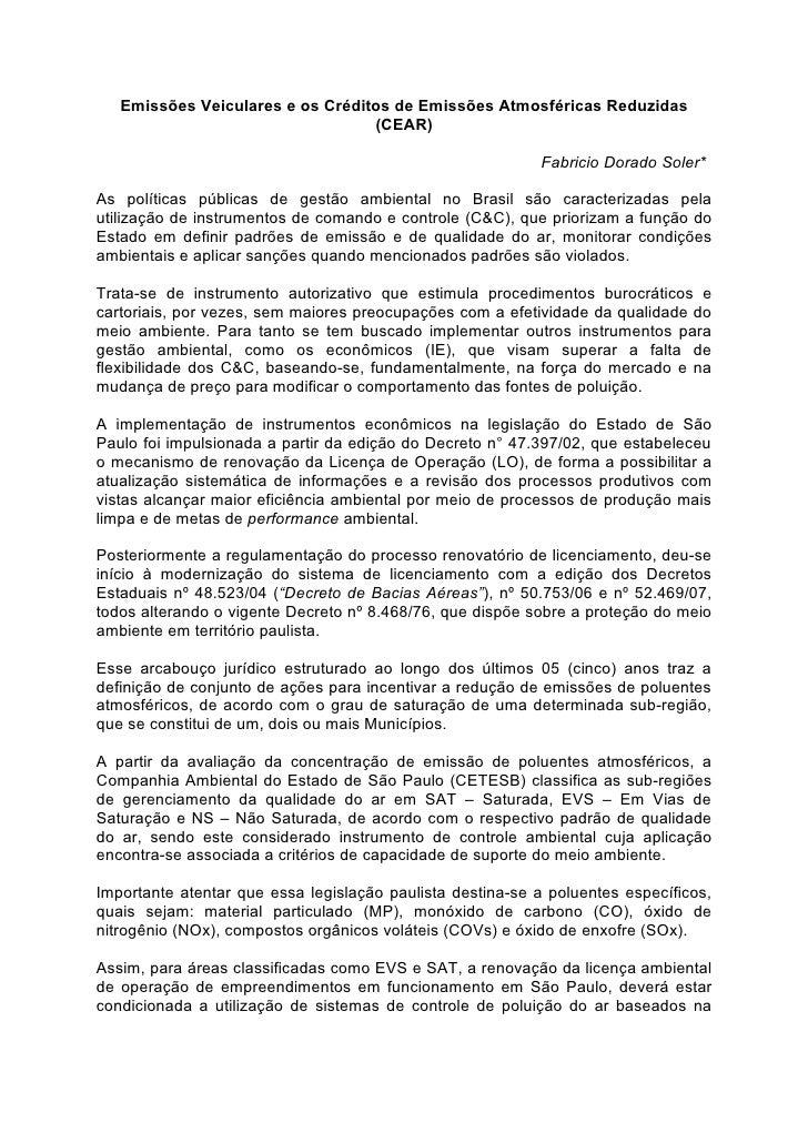 Emissões Veiculares e os Créditos de Emissões Atmosféricas Reduzidas                                   (CEAR)             ...