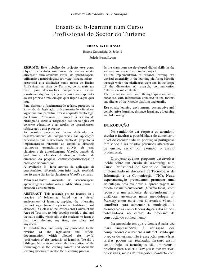 I Encontro Internacional TIC e Educação  Ensaio de b-learning num Curso Profissional do Sector do Turismo FERNANDA LEDESMA...