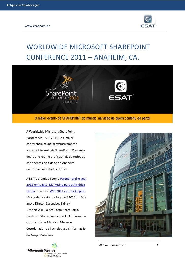 Artigos de Colaboração            www.esat.com.br             WORLDWIDE MICROSOFT SHAREPOINT             CONFERENCE 2011 –...