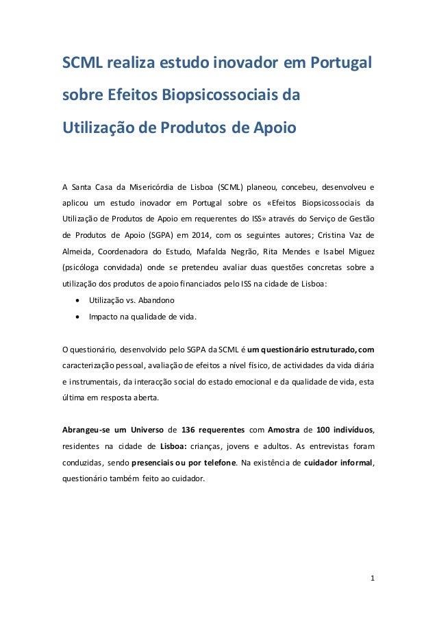 1 SCML realiza estudo inovador em Portugal sobre Efeitos Biopsicossociais da Utilização de Produtos de Apoio A Santa Casa ...