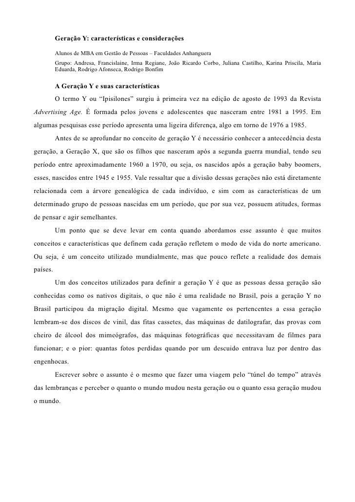 Geração Y: características e considerações            Alunos de MBA em Gestão de Pessoas – Faculdades Anhanguera          ...