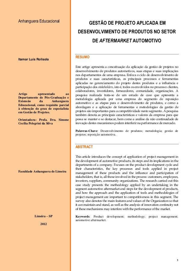 1 Anhanguera Educacional Itamar Luís Rolisola Artigo apresentado ao Departamento de Pós-Graduação e Extensão da Anhanguera...