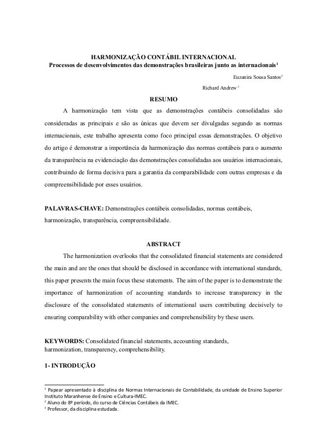 HARMONIZAÇÃO CONTÁBIL INTERNACIONAL  Processos de desenvolvimentos das demonstrações brasileiras junto as internacionais1 ...