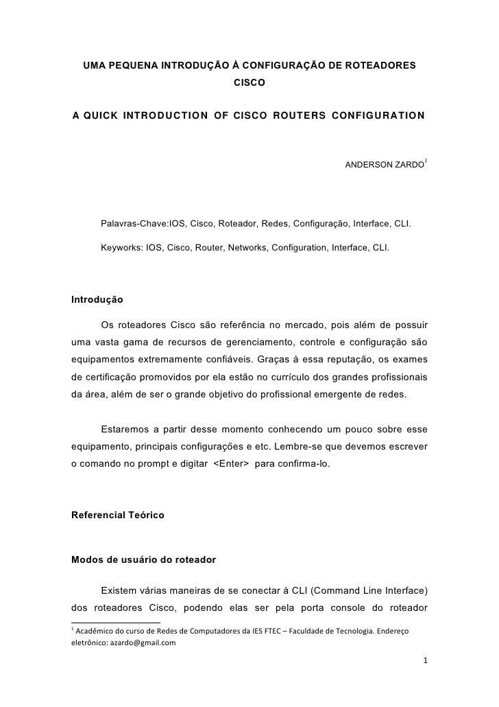 Artigo   intrudução à configuração dos roteadores cisco