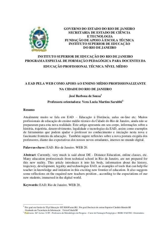 GOVERNO DO ESTADO DO RIO DE JANEIRO SECRETARIA DE ESTADO DE CIÊNCIA E TECNOLOGIA FUNDAÇÃO DE APOIO À ESCOLA TÉCNICA INSTIT...