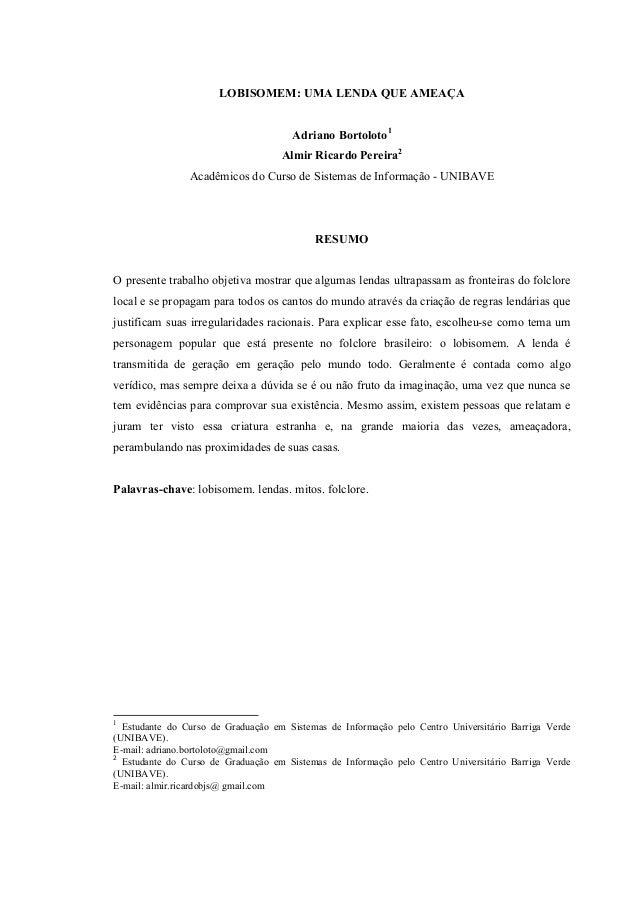 Well-known O Lobisomem uma lenda que ameaça (Artigo) ON39
