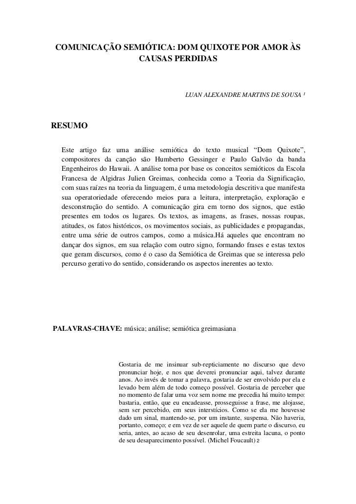 COMUNICAÇÃO SEMIÓTICA: DOM QUIXOTE POR AMOR ÀS               CAUSAS PERDIDAS                                             L...