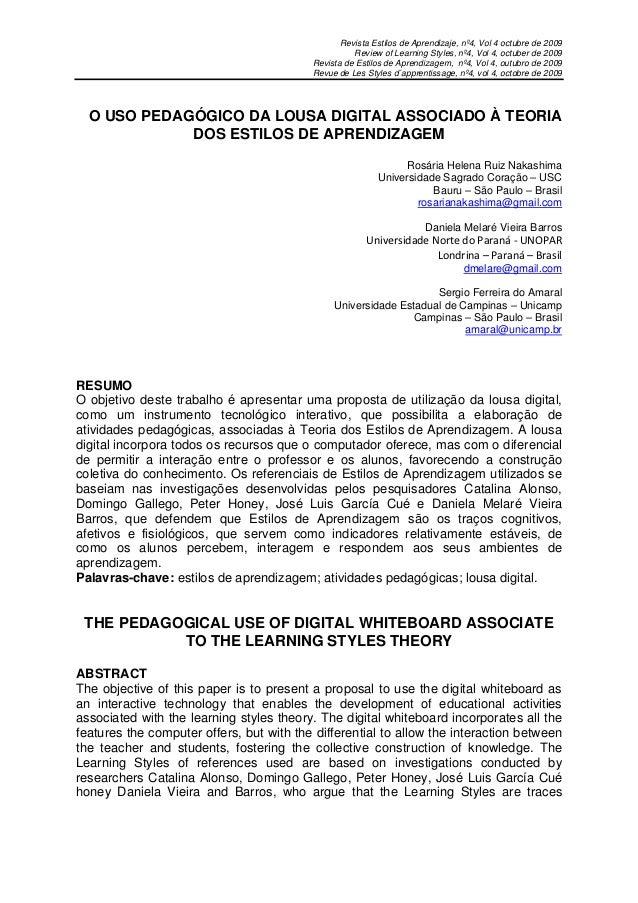Revista Estilos de Aprendizaje, nº4, Vol 4 octubre de 2009                                                    Review of Le...