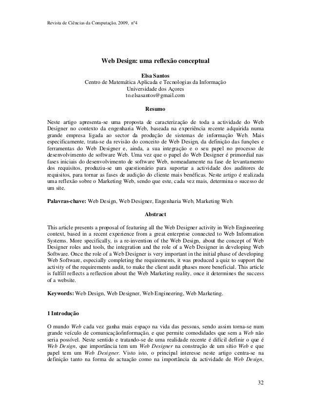 Revista de Ciências da Computação, 2009, nº4  32  Web Design: uma reflexão conceptual  Elsa Santos  Centro de Matemática A...