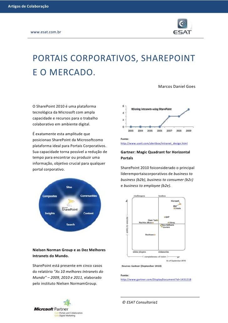 Portais corporativos, SharePoint e o MERCADO.<br />Marcos Daniel Goes<br />O SharePoint 2010 é uma plataforma tecnológica ...