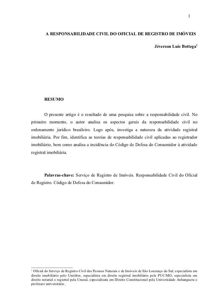 Artigo Responsabilidade Civil do Registro de Imóveis