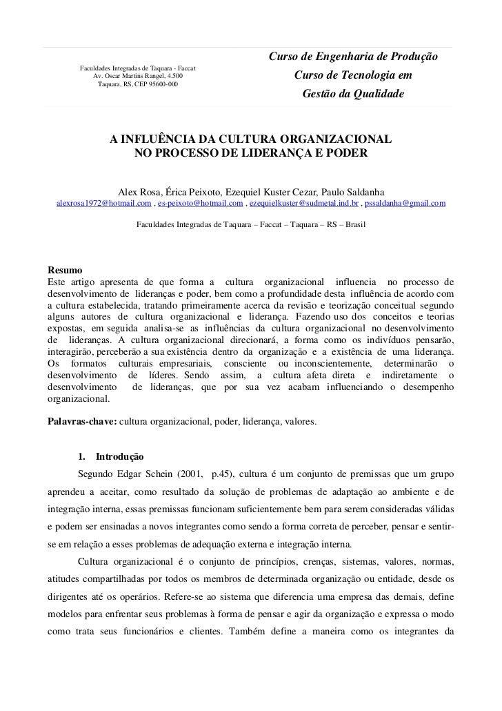 Curso de Engenharia de Produção        Faculdades Integradas de Taquara - Faccat            Av. Oscar Martins Rangel, 4.50...