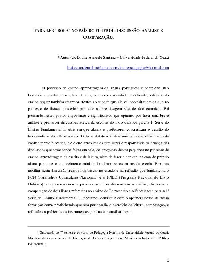 """PARA LER """"BOLA"""" NO PAÍS DO FUTEBOL: DISCUSSÃO, ANÁLISE E                                     COMPARAÇÃO.                  ..."""