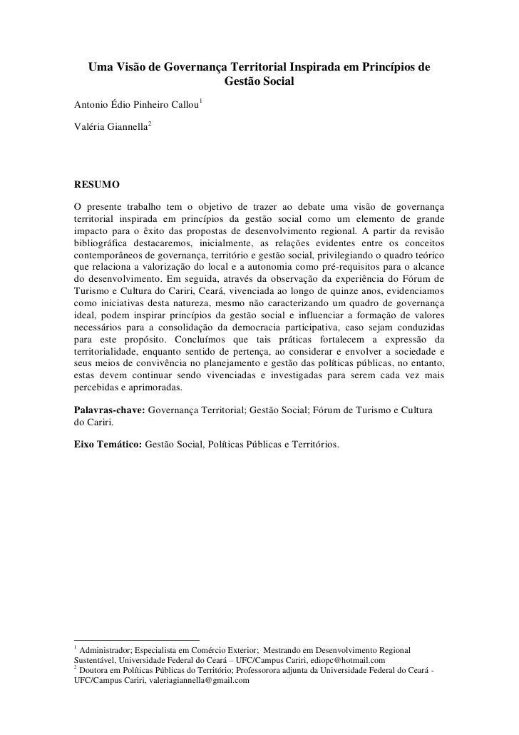 Uma Visão de Governança Territorial Inspirada em Princípios de                           Gestão SocialAntonio Édio Pinheir...