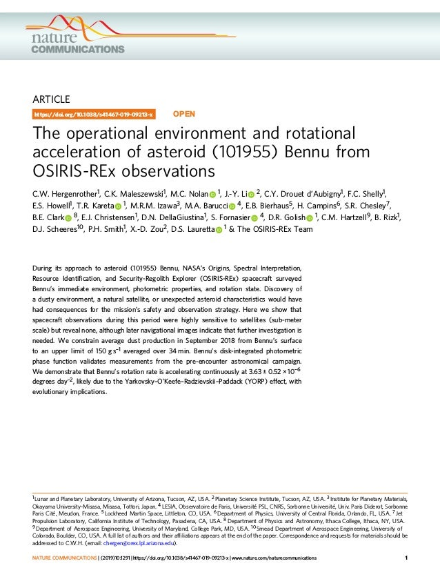 ARTICLE The operational environment and rotational acceleration of asteroid (101955) Bennu from OSIRIS-REx observations C....