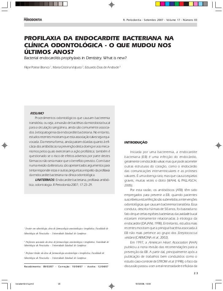 R. Periodontia - Setembro 2007 - Volume 17 - Número 03        PROFILAXIA DA ENDOCARDITE BACTERIANA NA        CLÍNICA ODONT...
