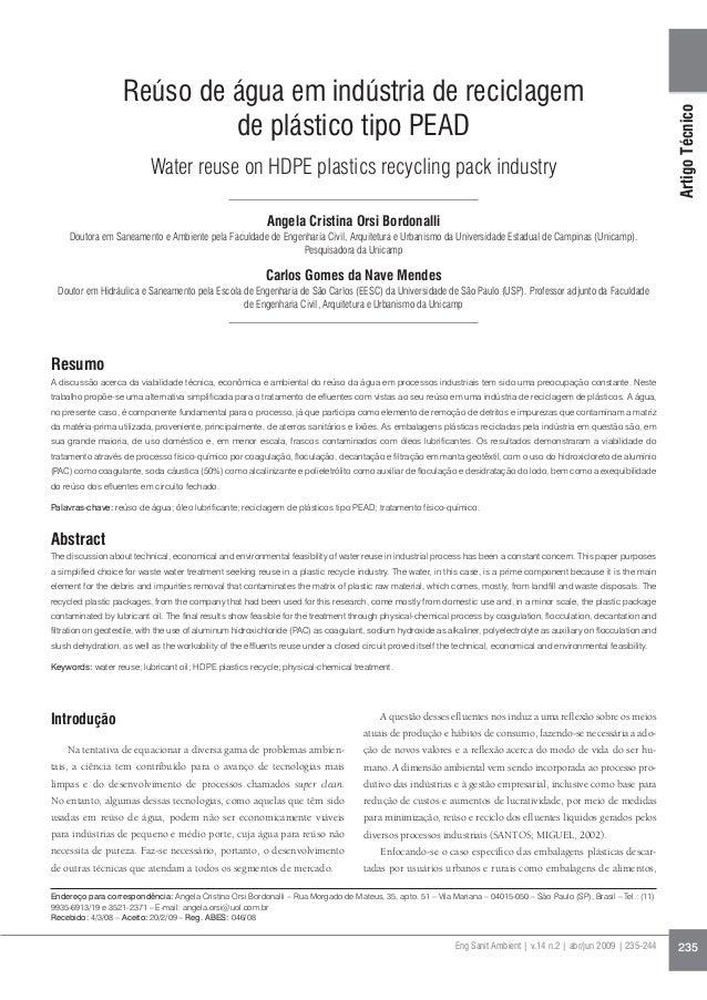 ArtigoTécnico Eng Sanit Ambient | v.14 n.2 | abr/jun 2009 | 235-244 235 Reúso de água em indústria de reciclagem de plásti...