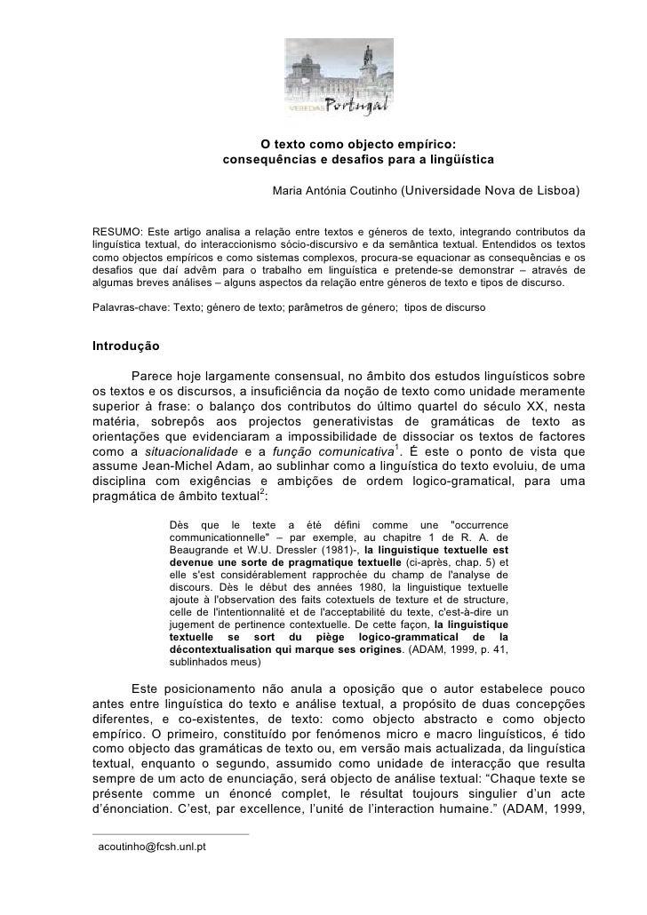 O texto como objecto empírico:                          consequências e desafios para a lingüística                       ...