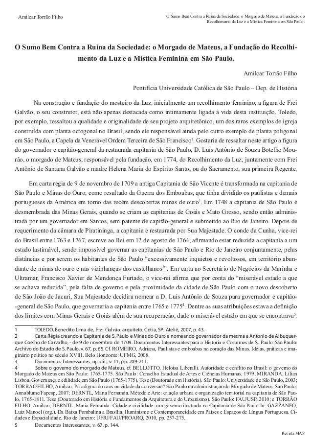 Revista MAS Amilcar Torrão Filho O Sumo Bem Contra a Ruína da Sociedade: o Morgado de Mateus, a Fundação do Recolhimento d...
