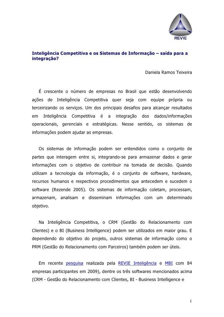 Inteligência Competitiva e os Sistemas de Informação – saída para a integração?                                           ...