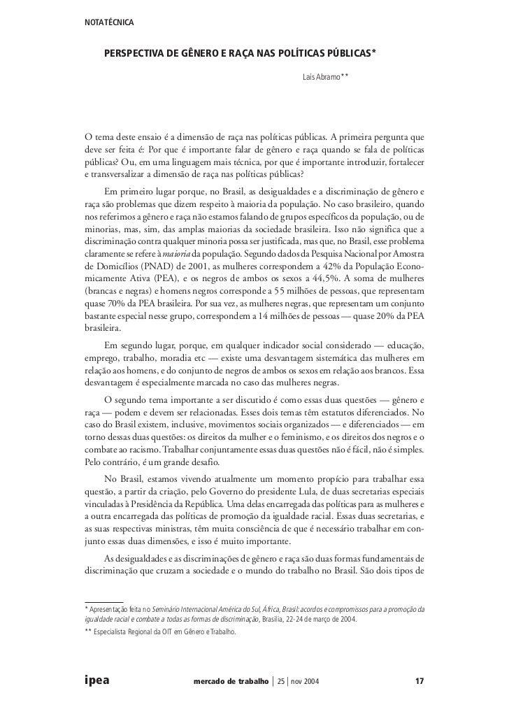 NOTA TÉCNICA      PERSPECTIVA DE GÊNERO E RAÇA NAS POLÍTICAS PÚBLICAS*                                                    ...