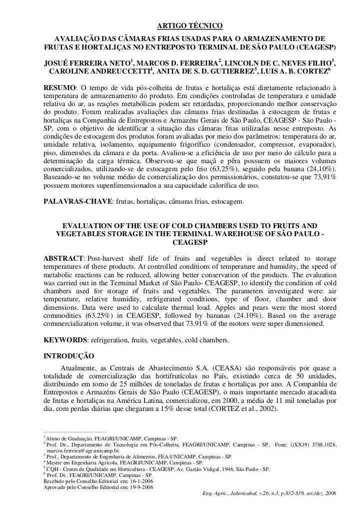 ARTIGO TÉCNICO  AVALIAÇÃO DAS CÂMARAS FRIAS USADAS PARA O ARMAZENAMENTO DEFRUTAS E HORTALIÇAS NO ENTREPOSTO TERMINAL DE SÃ...